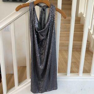 BCBGMAXAZRIA Gray sequin Jersey halter dress